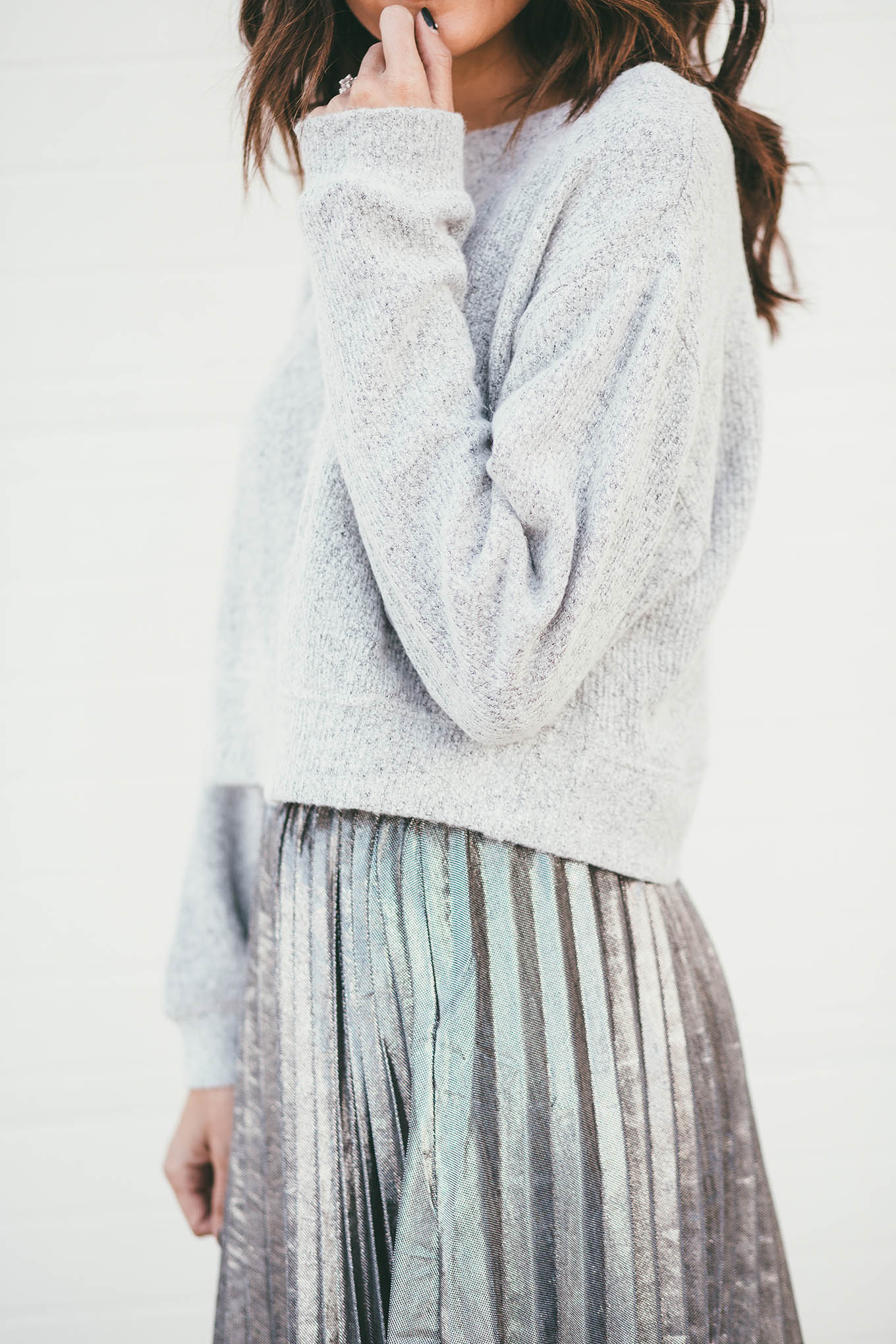 grey cropped sweater ily couture