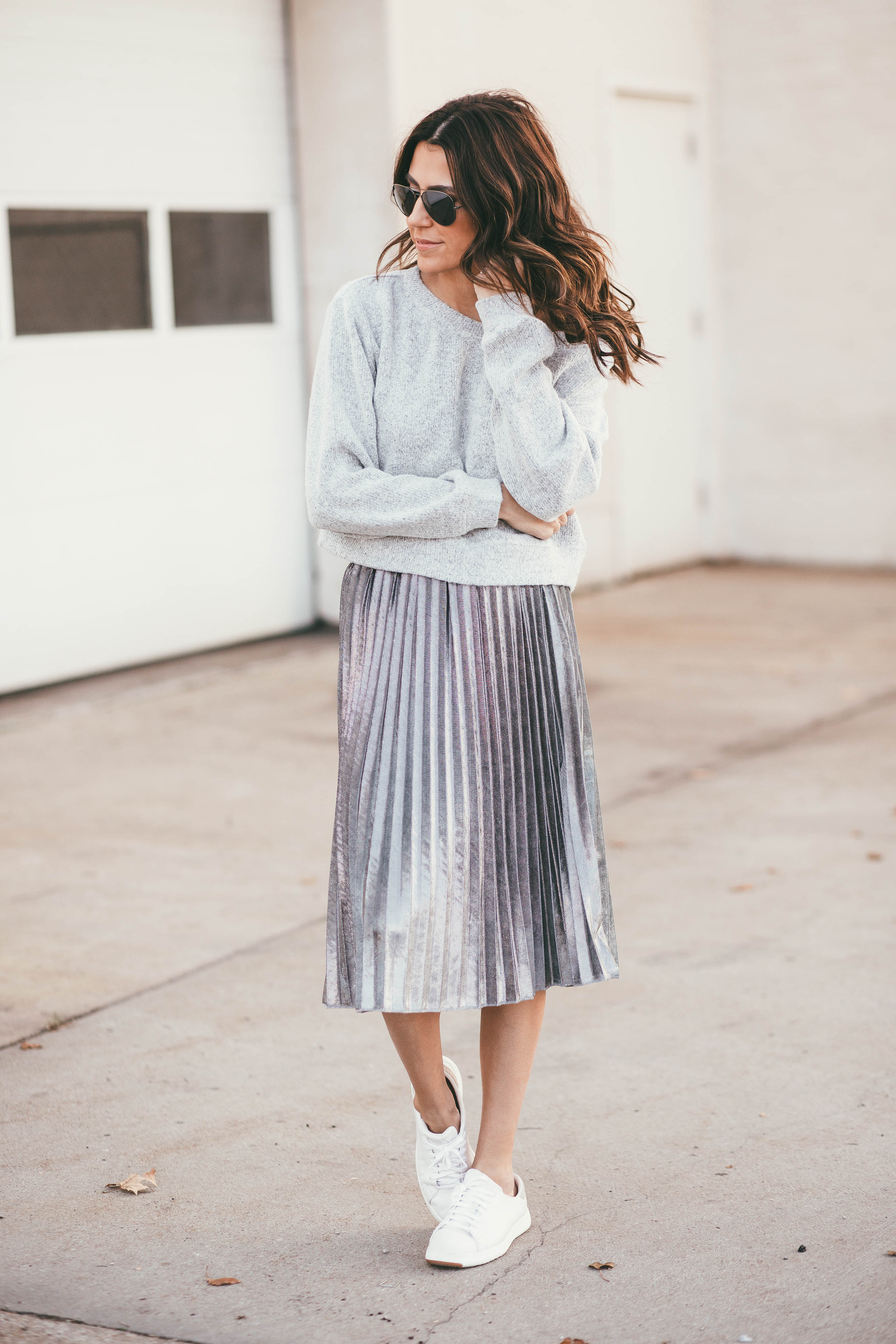 ily couture silver pleated skirt