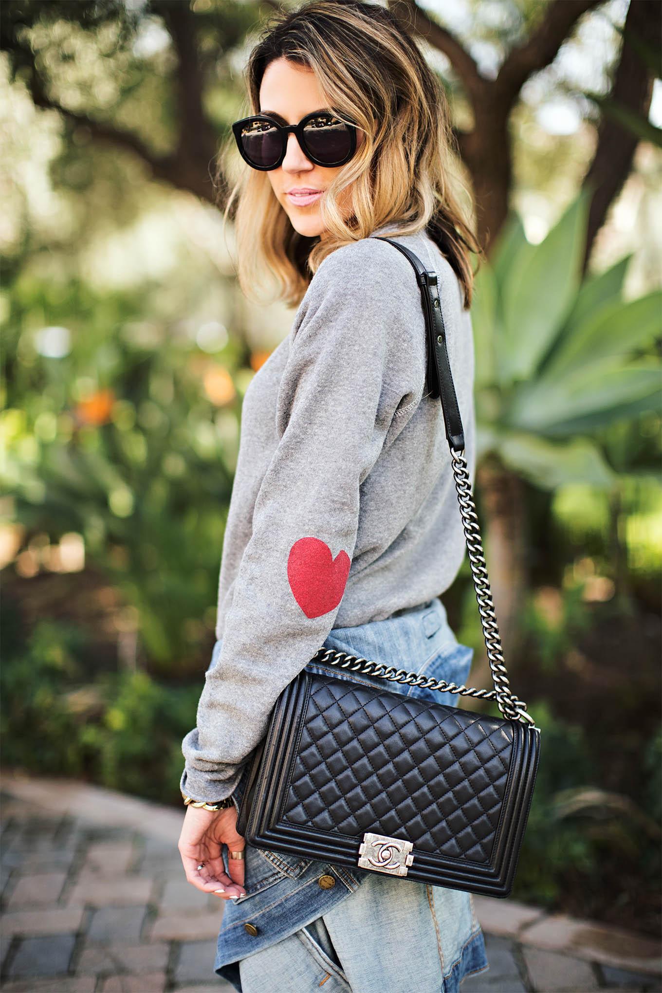 heart on sleeve sweatshirt