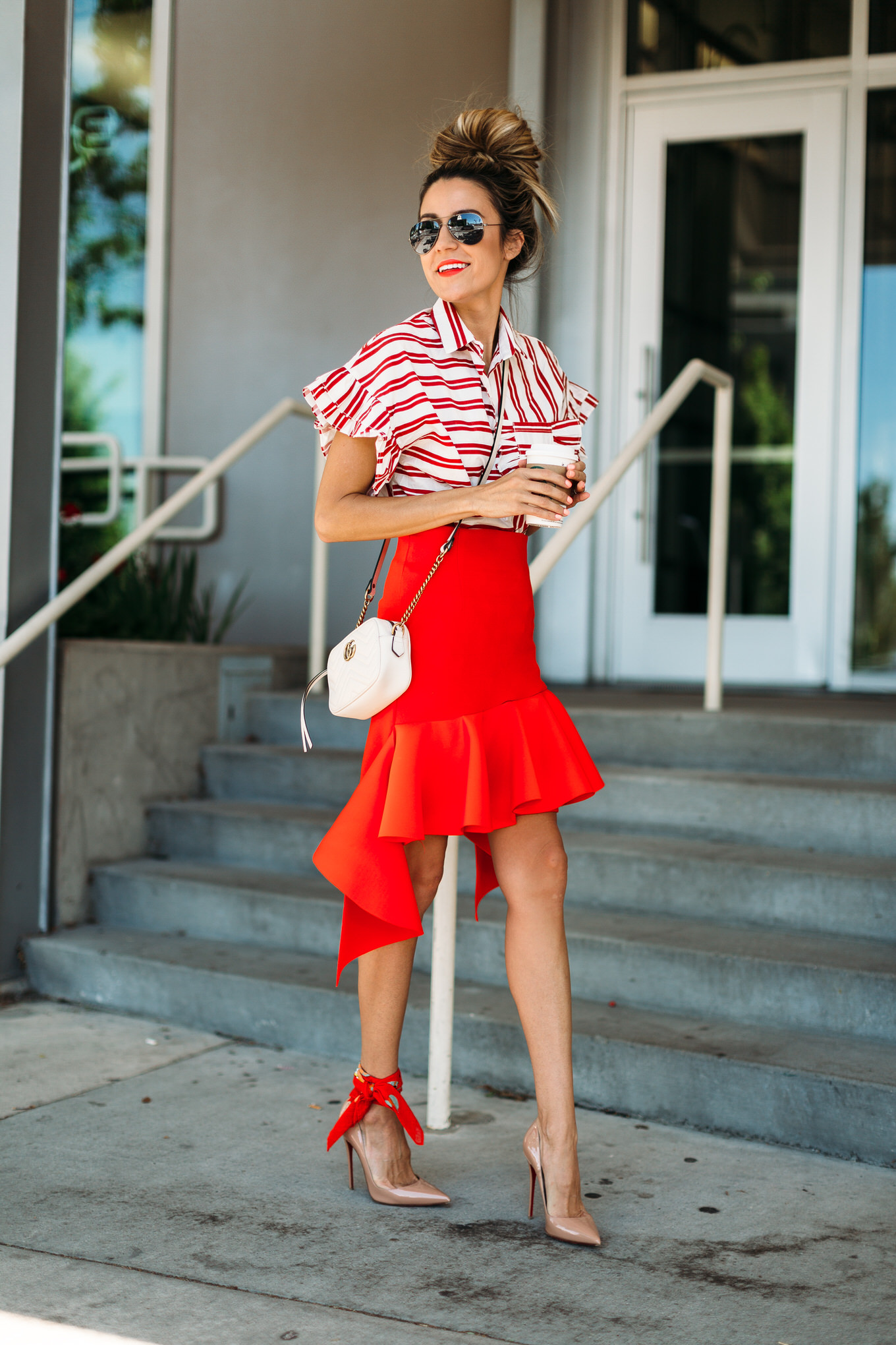 bold red skirt hello fashion blog