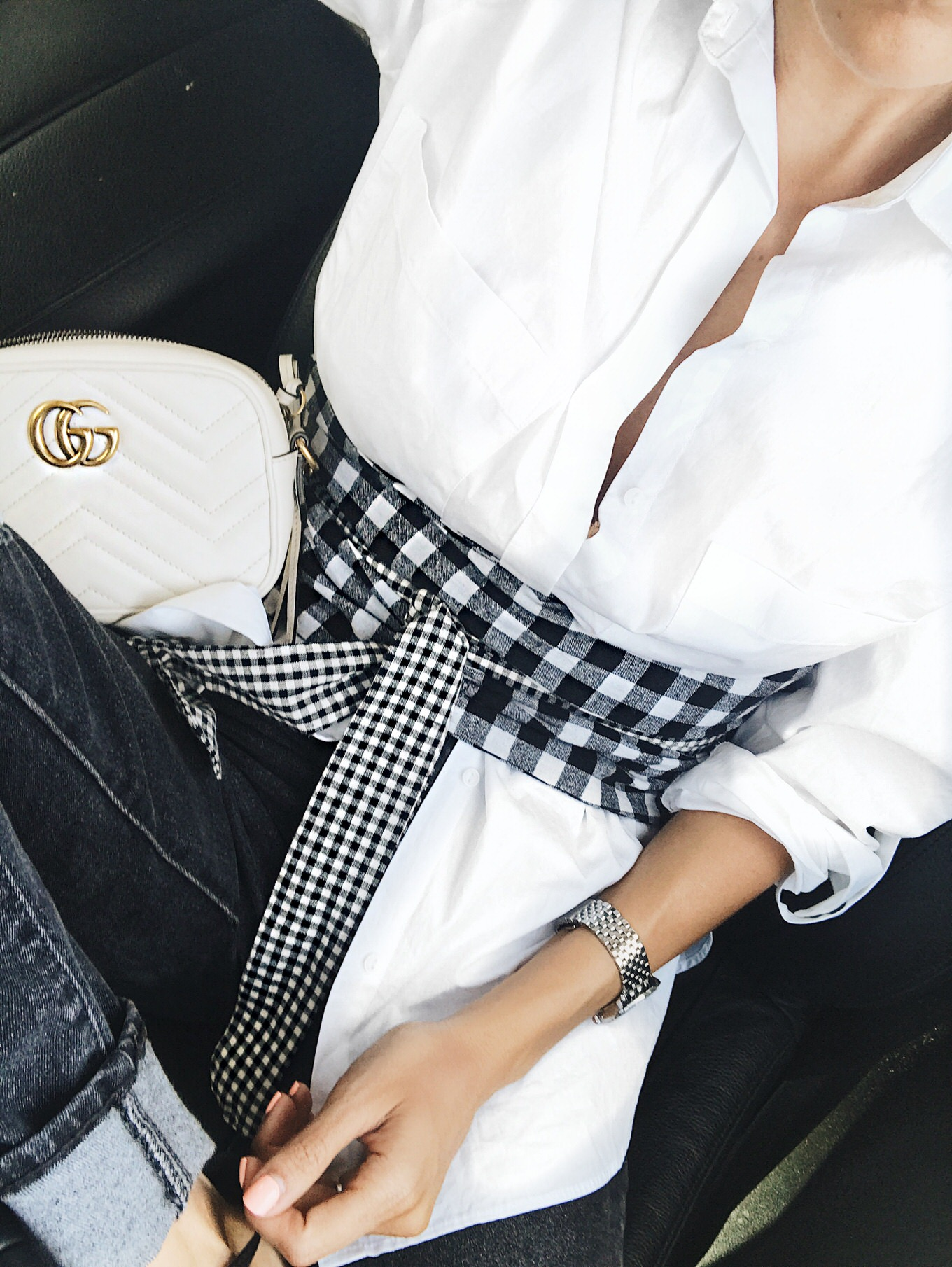 gingham wrap belt
