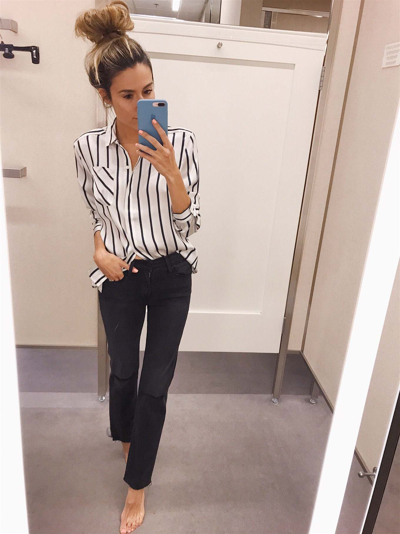 striped satin top