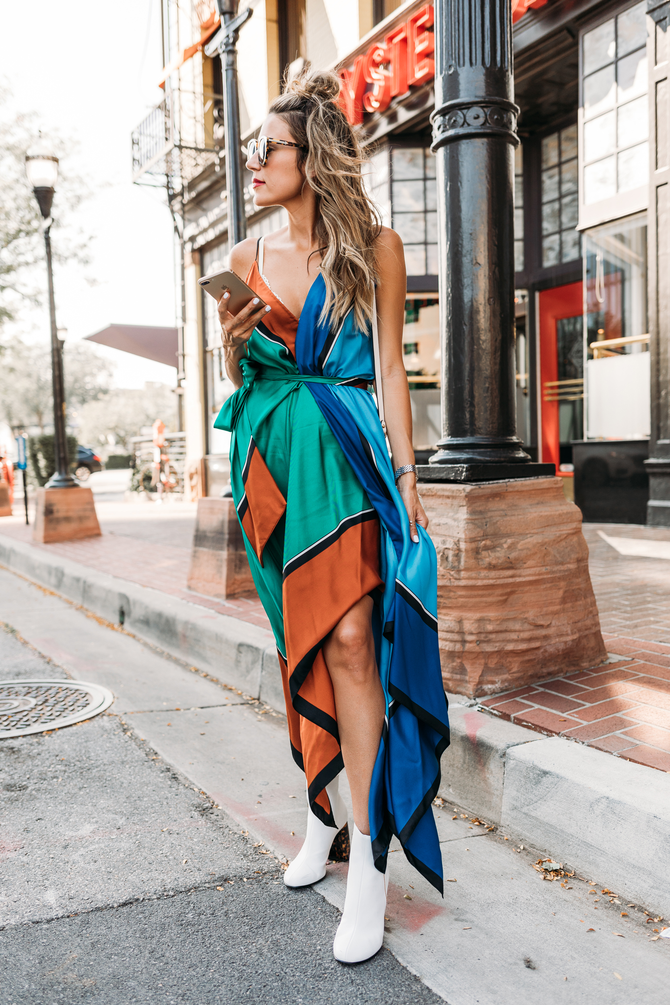 colorful scarf dress