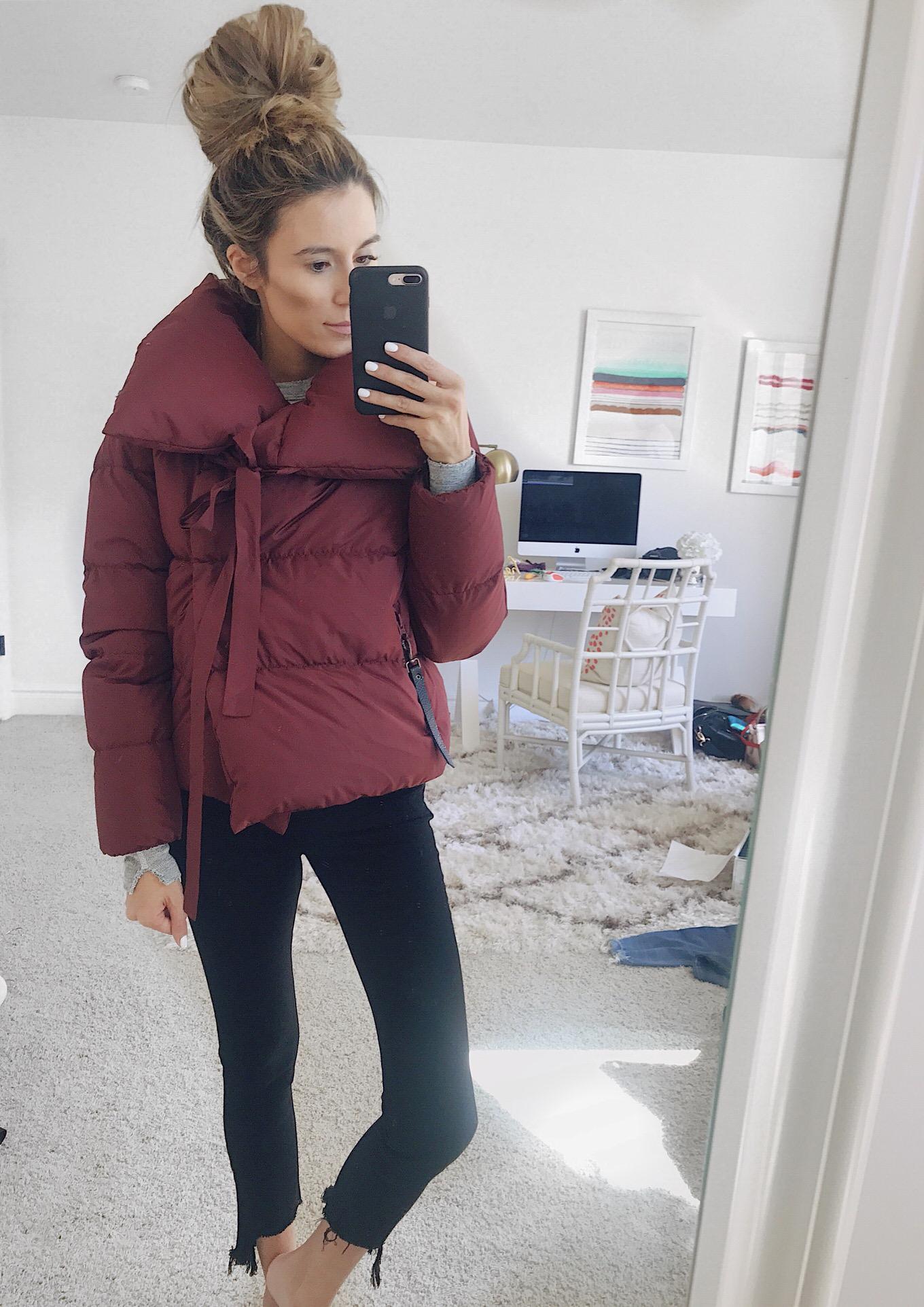 burgundy puffer coat