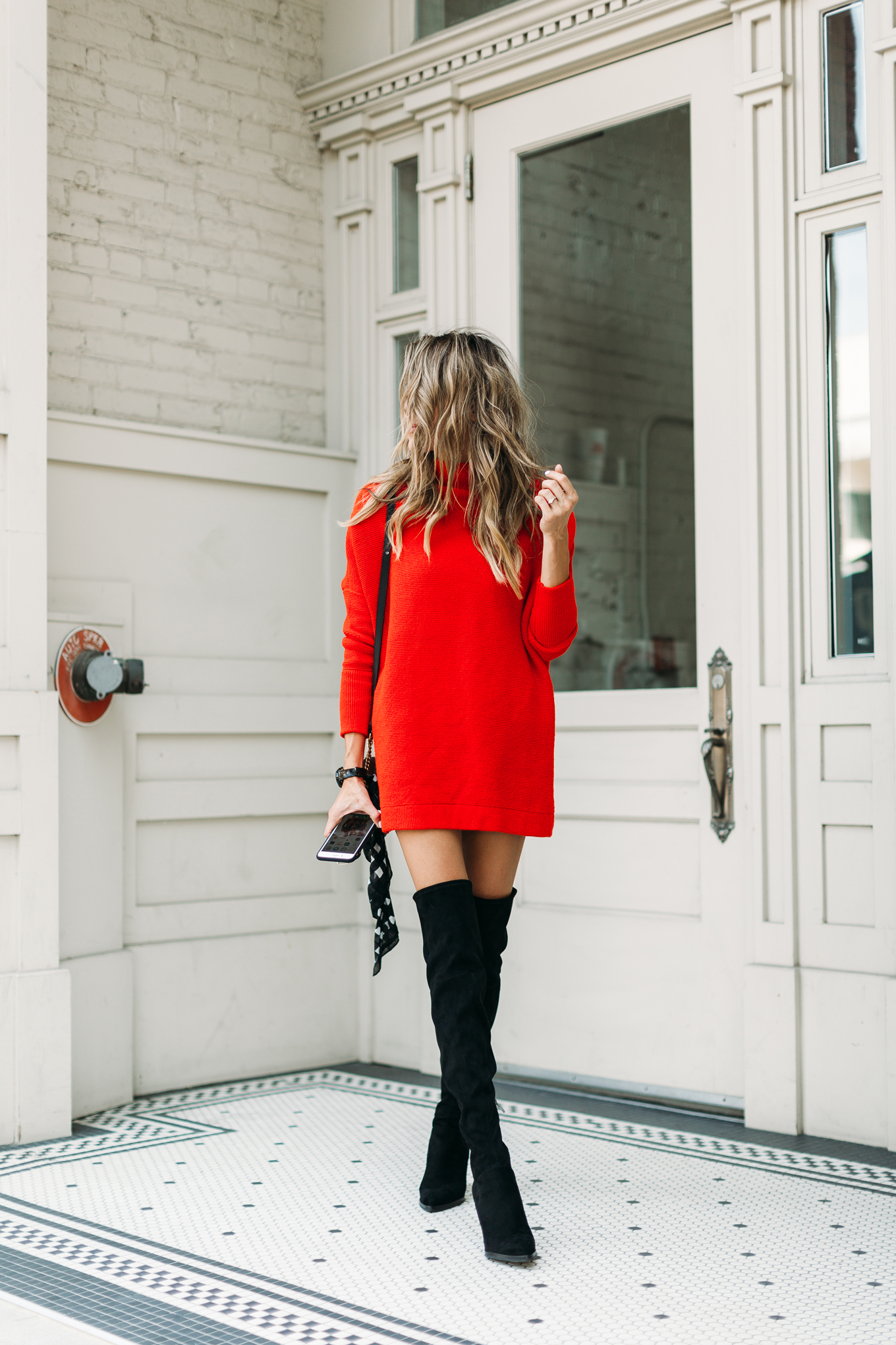dress and over the knee boots