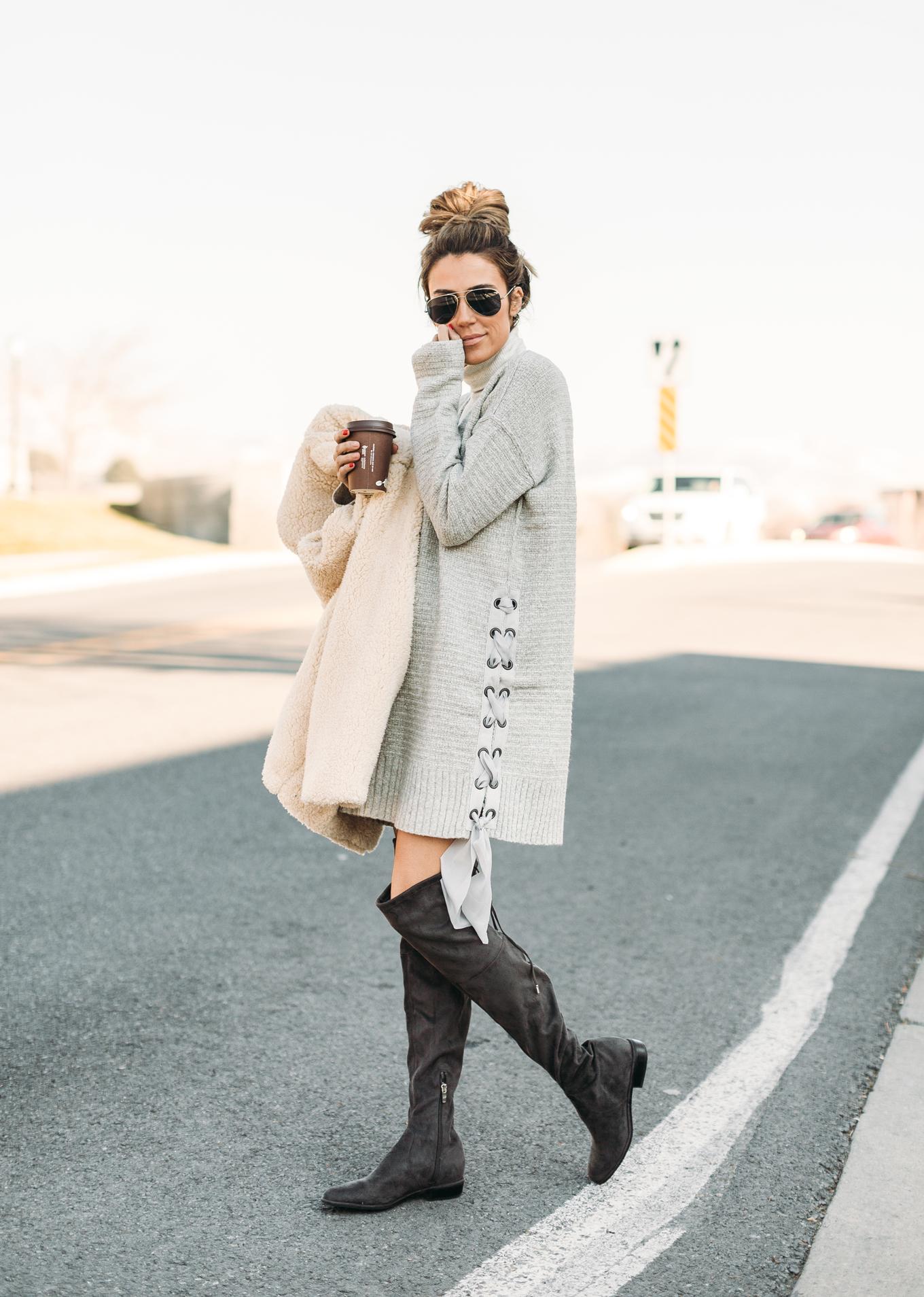 lace up sweater dress Hello Fashion Blog