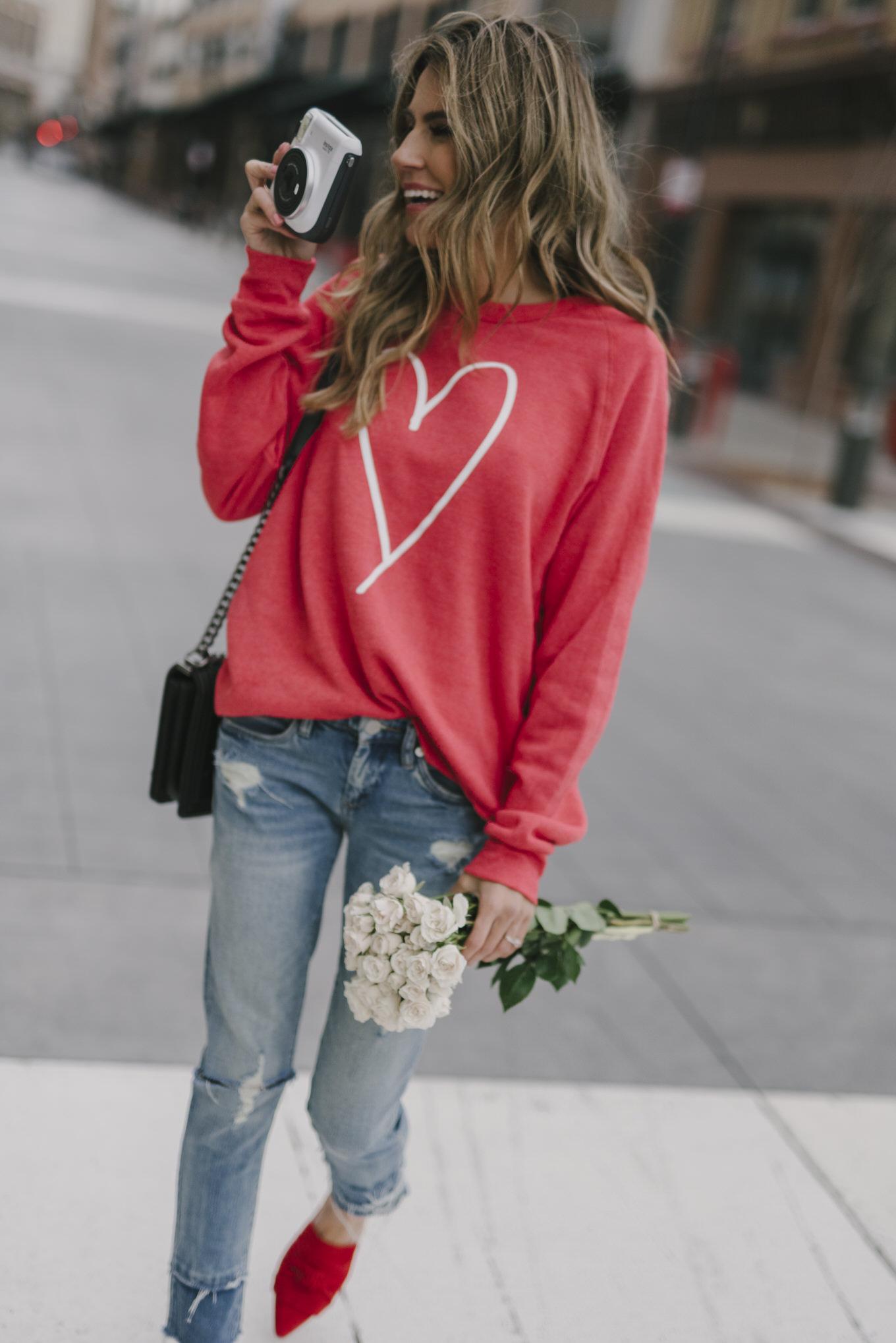 valentine's heart sweatshirt