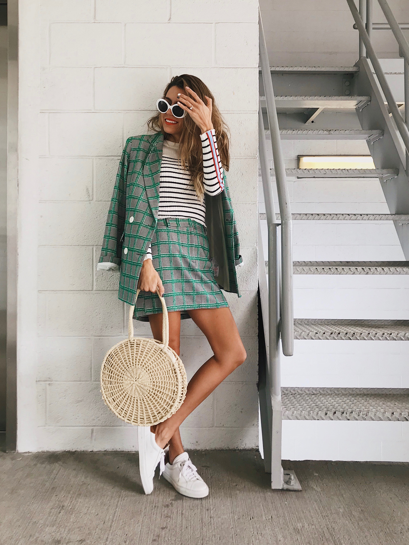green plaid blazer