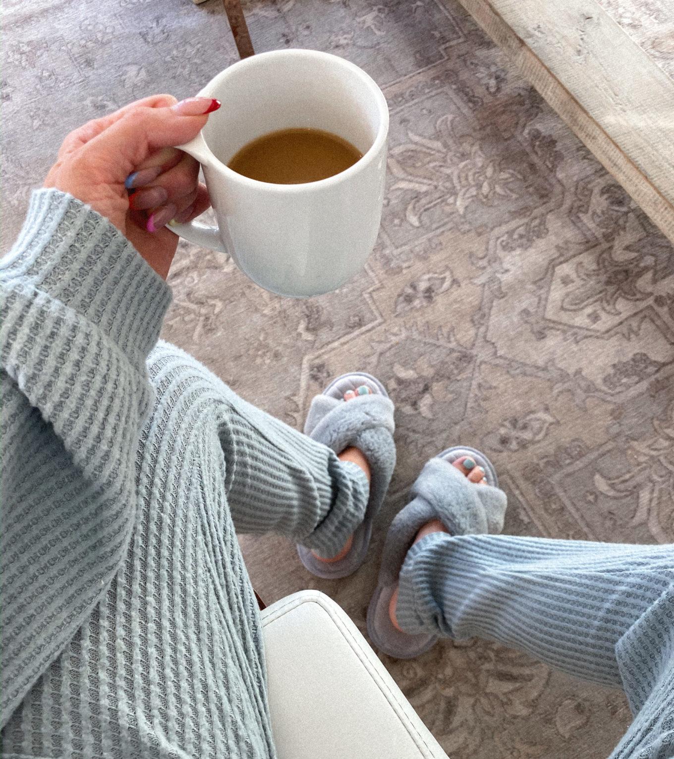 cozy slippers and pajama set