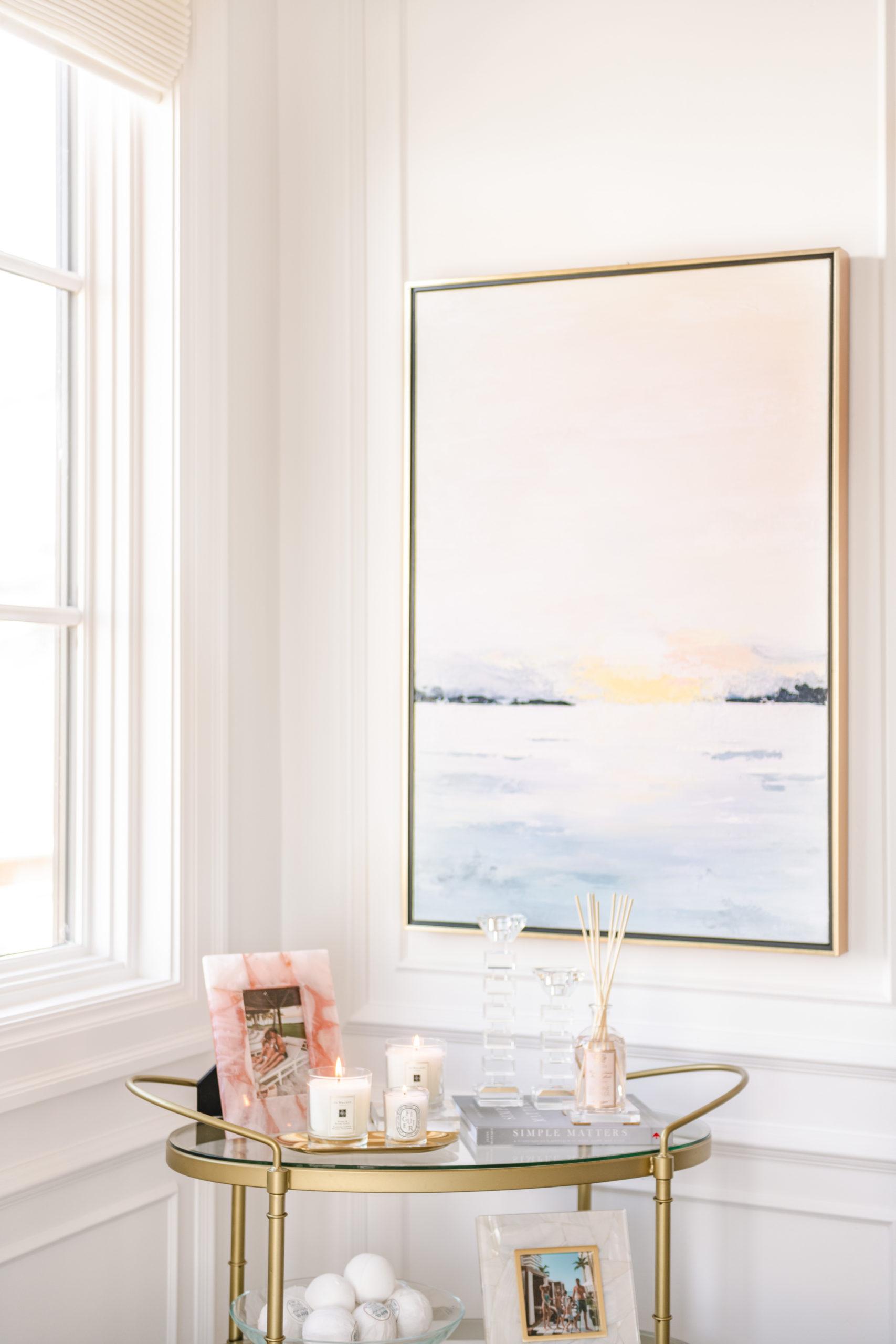 bathroom sunset art