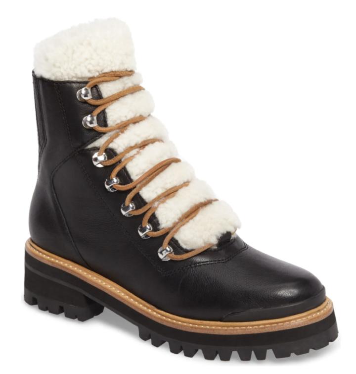 shearling hiker boots