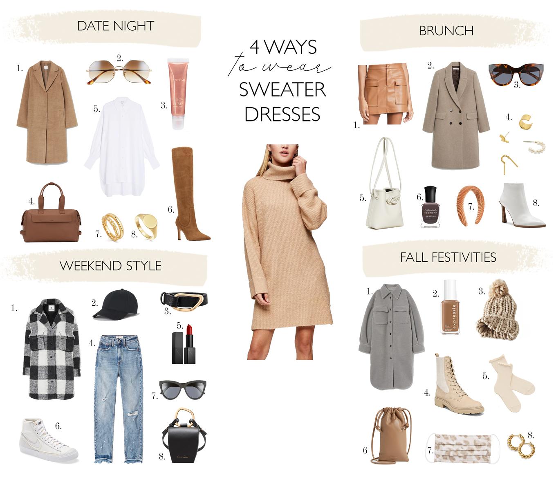 fresh ways to wear a sweater dress