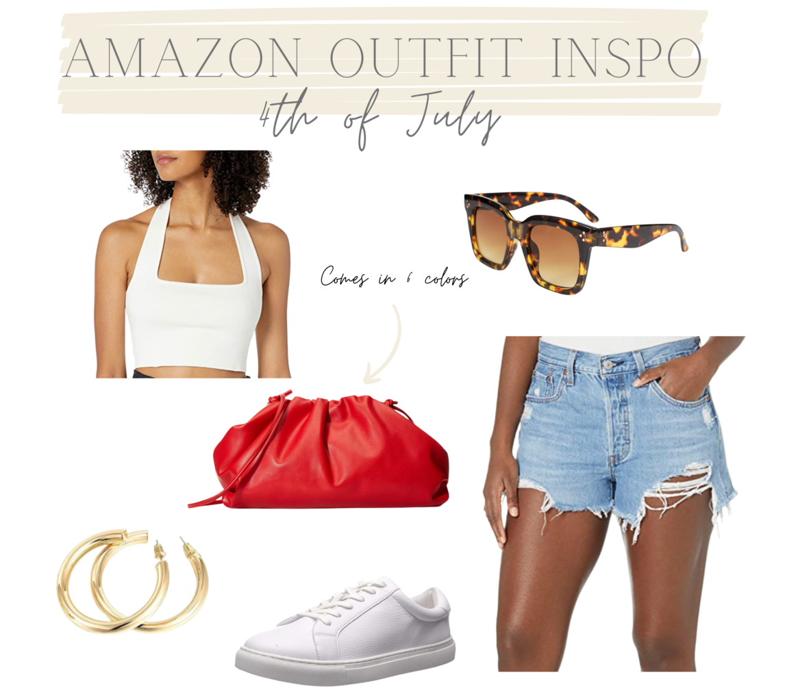 red clutch, amazon, 4th of July, denim shorts, sunnies, white tennis shoes, white crop top, gold earrings, amazon outfit inpso, amazon outfits