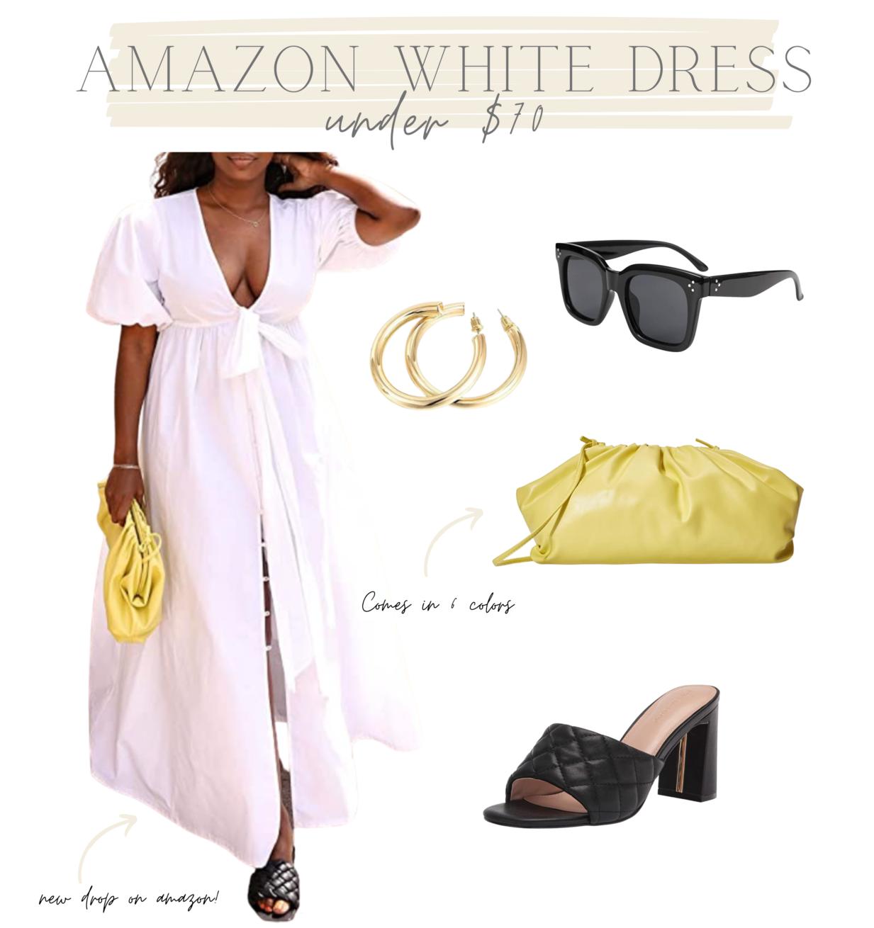 yellow clutch, amazon clutch, best-selling clutch, white dress, summer white dress, black sunnies, black heels, amazon white dress
