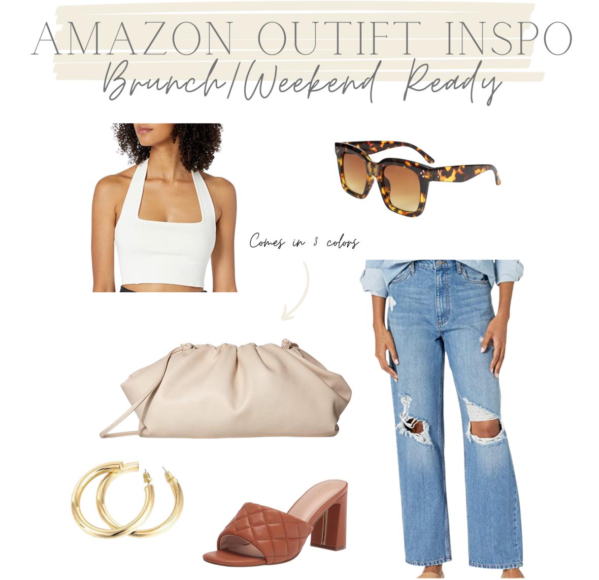 amazon, amazon clutch, cream clutch, amazon denim, denim jeans, sunglasses, amazon outfit