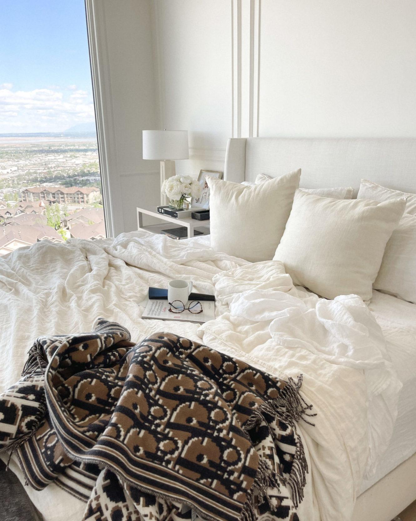 bed, bedroom, linen sheets, linen spray, cozy