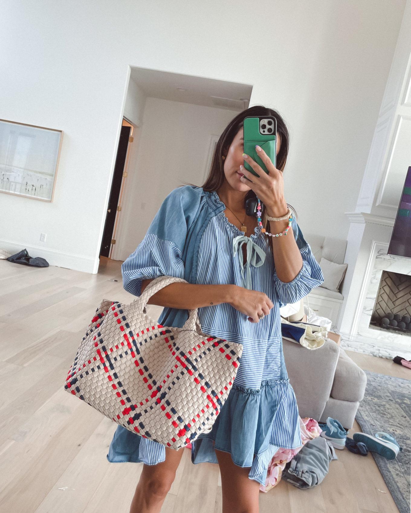 4th of July, dress, tote bag