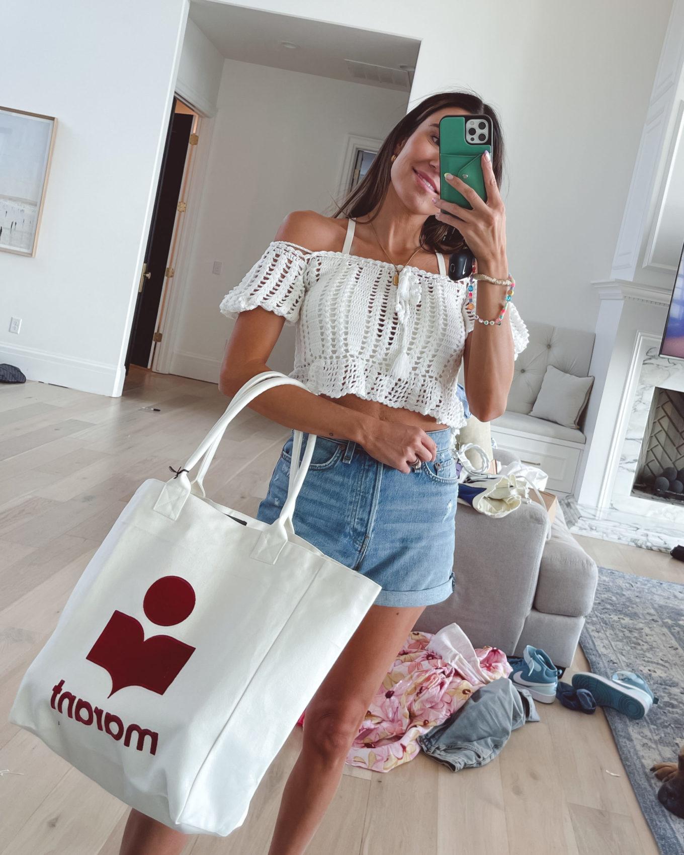 4th of July, crop top, tote bag